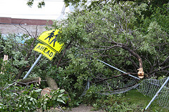 Damage from the 2009 Minneapolis tornado.